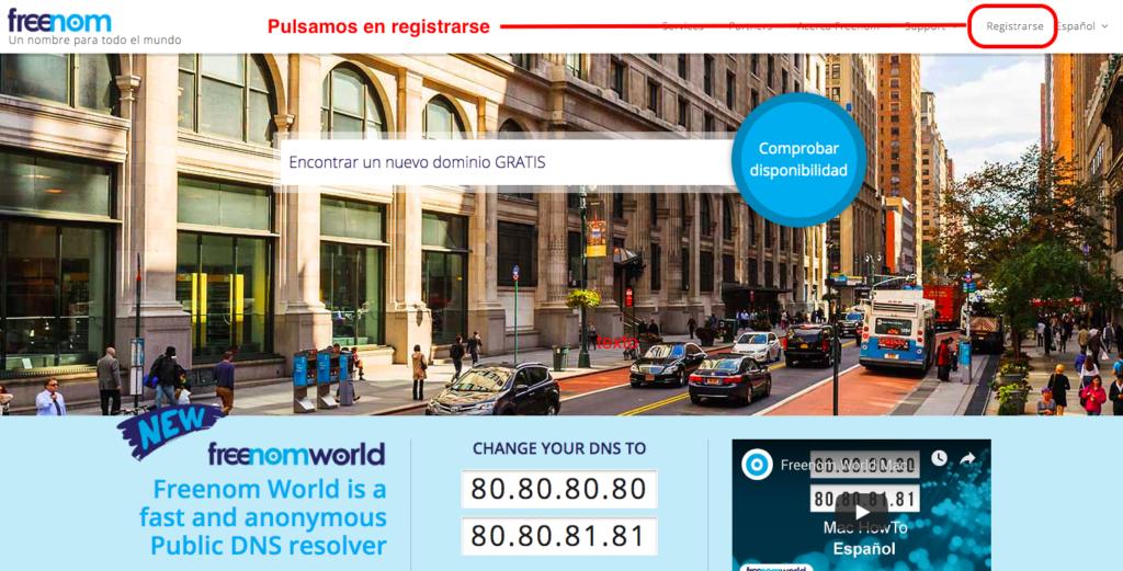 Registrar dominio gratis paso 1